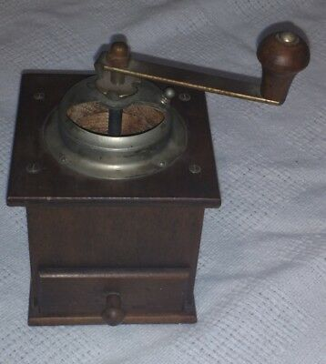 Vintage Coffee Grinder Hand Crank Wood Brass Iron Hand Made? Primitive