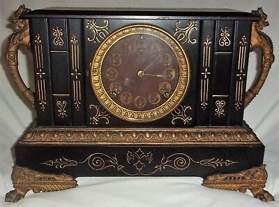 Antique June 18, 1882  RARE Ansonia Iron Mantel Clock Dragon Handles Ornate w/