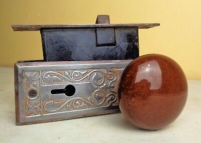 Antique Vintage Set EASTLAKE Backplates Brown Porcelain Door Knobs Mortise Lock