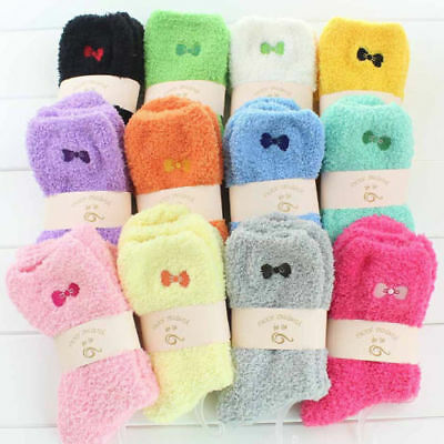 12 Pairs Women Ladies Lounge Slipper Bed Socks Fleece Fluffy Warm Soft Grip Bed