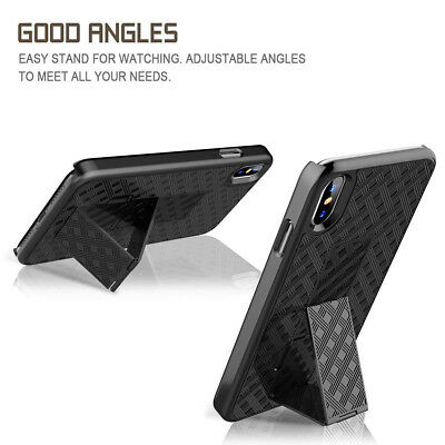 For iPhone XR XS Max Rugged Armor Microfiber Stand Hard Case With Belt Clip