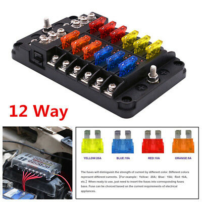 12 Way Blade Fuse Holder PBT+PC+PP Red Light Fuse Box Block Case Car Truck Boat