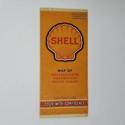 1942 Shell Oil Map of Massachusetts Connecticut and Rhode Island War Time Issue