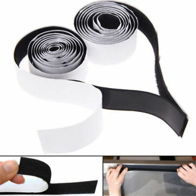 2 in1 Self Adhesive Tape Hook and Loop Fastener Extra Sticky BIack/White 1m*2cm