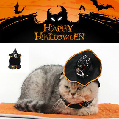 Pet Dog Cat Halloween Costume Clothes Witch Hat Cosplay Gift