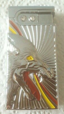 Cigarette Lighter With A Wolf Colors Silver Red And Yellow