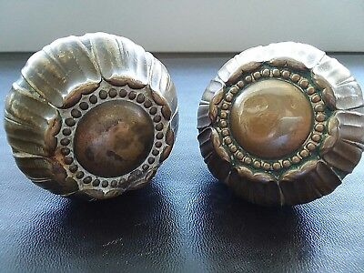 "Antique Ornate Brass Bronze Door Knobs Set Victorian Large 2 1/2"" Flower Rare"