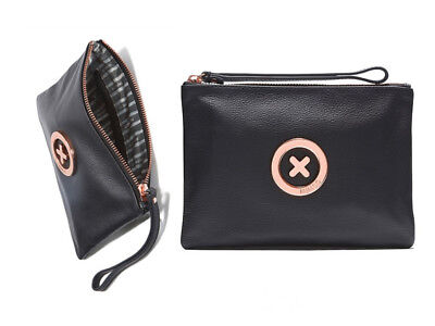 Mimco Black with rose gold Medium supernatural Soft Leather Pouch