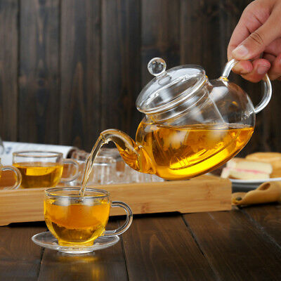 600ML-1000ML Heat Resistant Glass Teapot  Infuser Coffee Tea Leaf Herbal