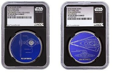 2017 Niue Star Wars Ships Destroyer & Tie Fighter 2 oz .999 Silver $2 NGC PF69
