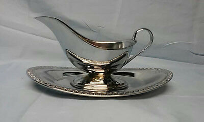 Irvinware Made In USA Silverplate Gravy Sauce Boat With Under Plate