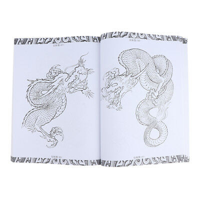 66 pages Dragon Phoenix Tattoo Art Designs Manuscrit Flash Sketch Line Book