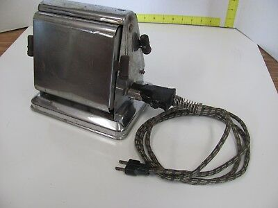 Antique Vintage Toaster Chrome Flips Open Has Cord - Tested!!