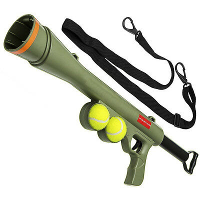 Dog Ball Launcher Bazooka Gun Cannon Toy With Balls Strap Shoots Up To 50ft Kids