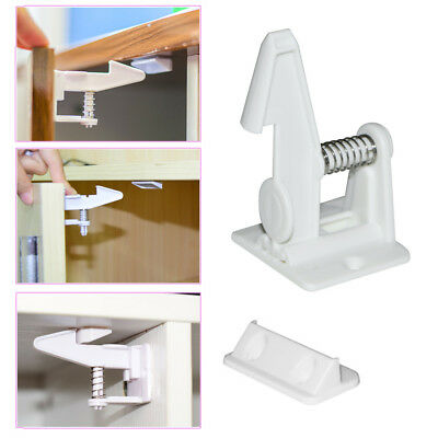 10pc Easy Install Baby Children Invisible Safety Cabinet Drawer Spring Lock Hot