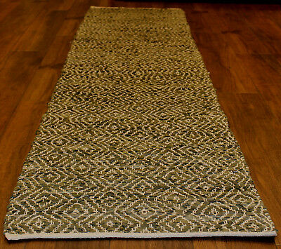 *REDUCED*  Leather / Cotton  Hall Runner Rug   * 3.1 m  x  0. 6 m *  BRAND NEW