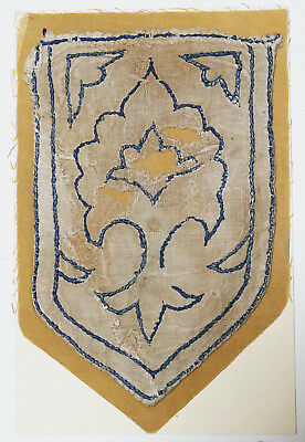 13-15C Antique Textile Fragment - Dyeing and Weaving, Emblem