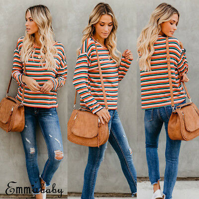 US Fashion Womens Loose Tops Long Sleeve Pullover Casual Blouse Rainbow T-shirt