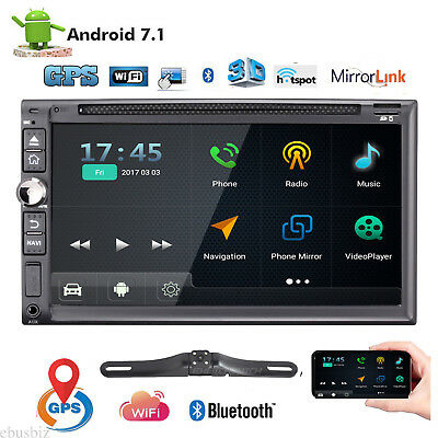 """7"""" Android 7.1 4G WiFi 2DIN Car Radio Stereo HD DVD CD Player GPS+Back up Camera"""