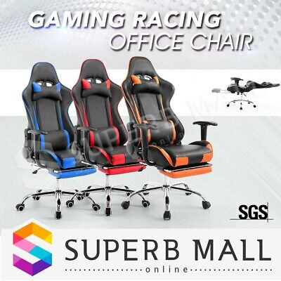 PU Leather Computer Office Chair Gaming Racing Executive Desk Seat with Footrest