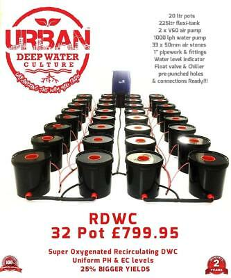 32 Pot 20L System (4Lane)& Flexi Tank For Grow Size 4 x 2m Autopot DWC R Roots