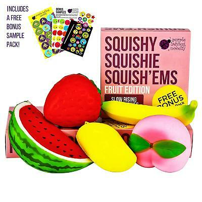 Slow Rising Jumbo FRUIT SQUISHIES pack in a GIFT BOX: Watermelon, Peach, Banana