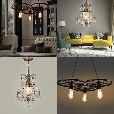 Rustic Crystal Pendant Light Ceiling Lamp Chandelier Living/Dining Room Light MA