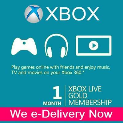 1 Month XBOX LIVE (2 x 14 Day) GOLD Trial Membership Code Xbox One Xbox 360 Card
