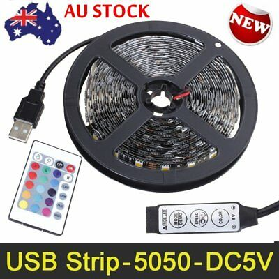 5V 5050 60 led/M RGB USB LED Strip Light Bar TV Back Lighting Remote Control Kit