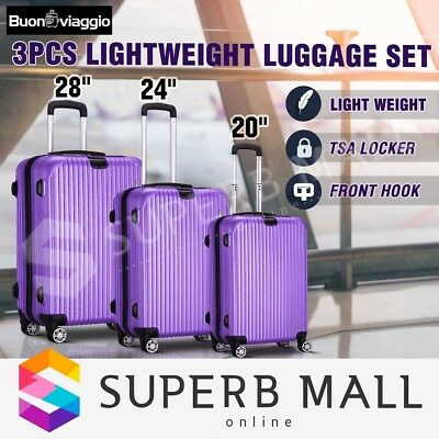 3x Lightweight Luggage Suitcase Set Expandable Spinner Travel Trolley - Purple