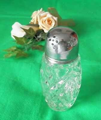 VINTAGE Pressed Clear Glass Chrome Topped Sugar Shaker Sifter