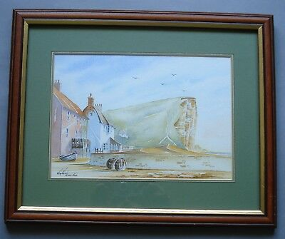 Framed Mounted Watercolour Of West Bay, Bridport, Dorset - Broadchurch