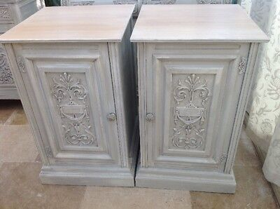 Very Large Carved Antique Pair Of Bedside Cabinets ,tables