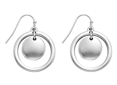 NEW Beautiful Matte Metallic Ring & Disc Dangly Earrings, 2 Colours, UK Seller