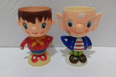 Retro  Noddy And Big Ears Vintage Egg Cups Plastic Toytown Toys Kitchenalia