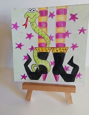 ACEO Original watercolour 'Witchy Boots'