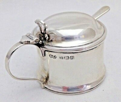 Vintage Solid Sterling Silver Mustard Pot & Matching Original Spoon (947-A-GYY)