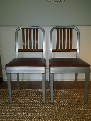 A Pair of Vintage Shaw Walker Mid Century Industrial Aluminum Maple Chairs