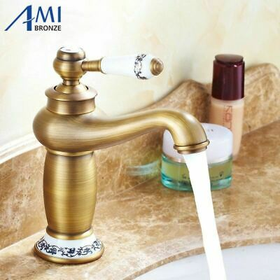Contemporary Antique Brass faucets Bathroom Sink Basin Faucet  Mixer water Tap H