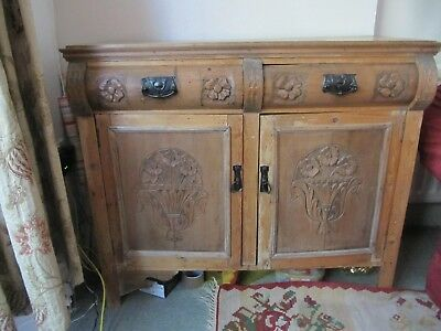 vintage antique cabinet cupboard sideboard with decorative carving and 2 drawers