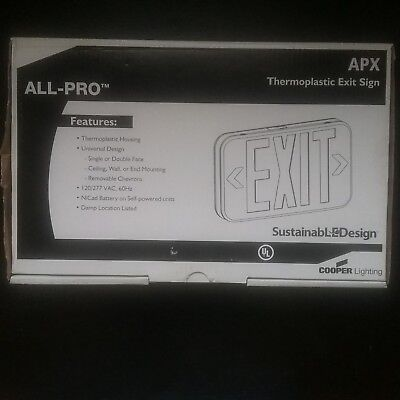 3 Cooper Lighting APX thermoplasti Exit Sign, AC Only - LED 120/277 VAC