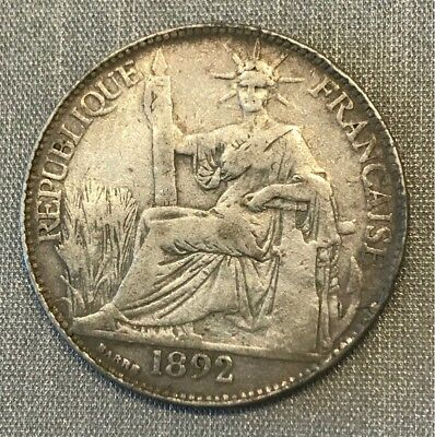 France Indochine 1892-A Paris 25 Cents Extremely Rare Km-3 The Rarest Date