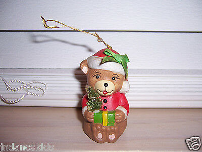 "GIFTCO Christmas Ornament Bell Santa Bear Made in Taiwan 2 3/4"" Tall"