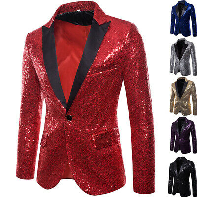 Men Sequins Nigth Clubs Wedding Party Tuxedo Cocktail Formal Suit Jacket Coat