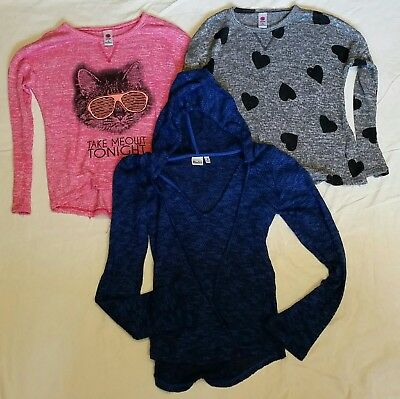 Girls Long Sleeve Shirts Size Small & Med Lot Of 3 Mudd Total Girl Hooded Cat
