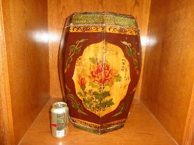 Large Antique Decorated Chinese Wood Octagonal Tea or Rice Caddie Container