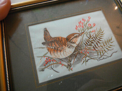 Framed Cash's Silk Woven Picture of Bird  ツFREE ShpN
