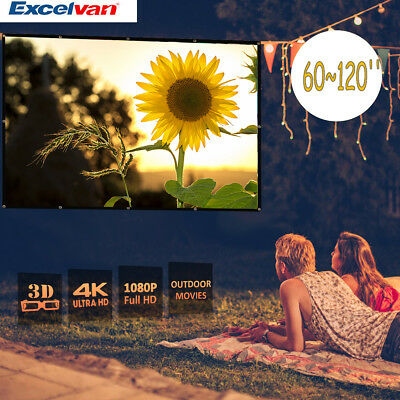 60~120'' 16:9 Portable 3D 4K HD Projector Projection Screen Home Theater Outdoor