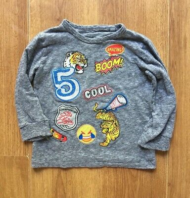 Preowned Baby Boy Long Sleeve NEXT Top Grey Tiger Emoji Size 18 -24 Month, TWINS
