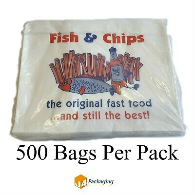 "500 x Fish and Chip Paper Bags 14"" x 11"" Take Away Bags Catering Kitchen"